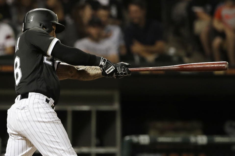 Chicago White Sox's Leury Garcia swings on a three-run triple against the Toronto Blue Jays during the eighth inning of a baseball game Saturday, July 28, 2018, in Chicago. (AP Photo/Nam Y. Huh)