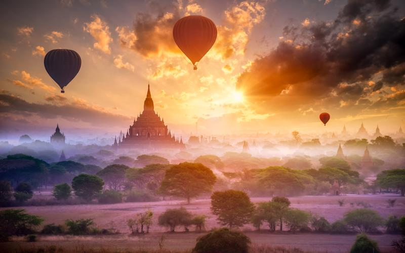 Hot air balloons rising over Bagan - Tetra