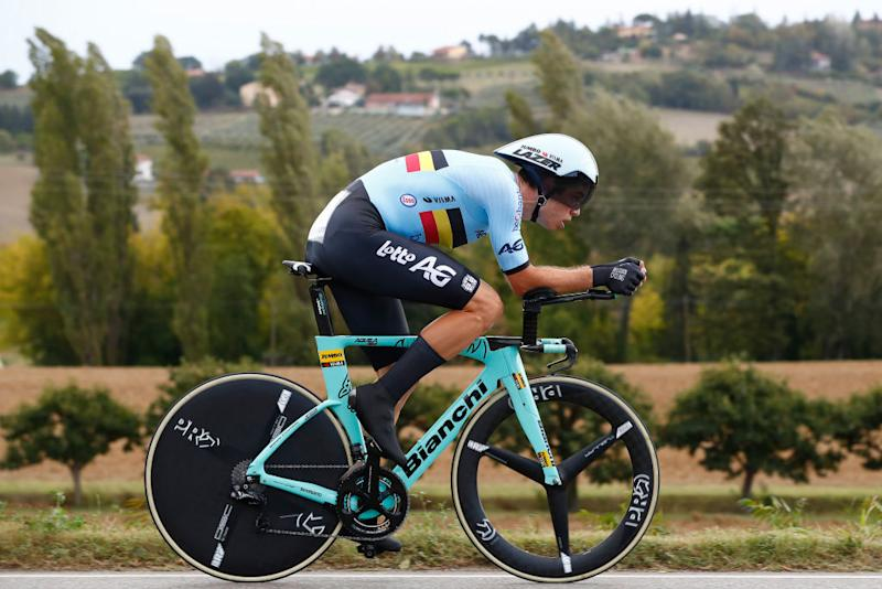 IMOLA ITALY SEPTEMBER 25 Wout Van Aert of Belgium during the 93rd UCI Road World Championships 2020 Men Elite Individual Time Trial a 317km race from Imola to Imola Autodromo Enzo e Dino Ferrari ITT ImolaEr2020 Imola2020 on September 25 2020 in Imola Italy Photo by Bas CzerwinskiGetty Images