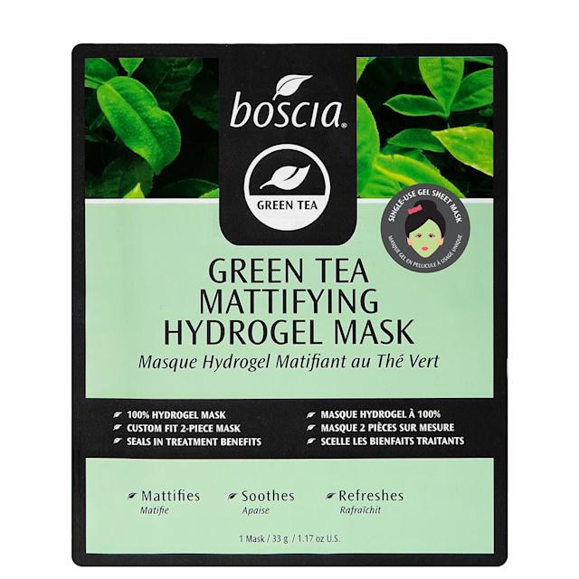 This mask by Boscia contains green tea (<span>a botanical antioxidant</span>), to help reduce excess oil, and marine collagen, which soothes and refreshes. <br><br><strong><span>Get the Boscia Green Tea Mattifying Hydrogel Mask for $6.00</span></strong>