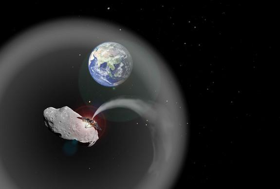 Scientists propose a dust cloud made of asteroid material could help to cool Earth. Here, an artist's depiction of what a spacecraft spewing asteroid dust might look like.
