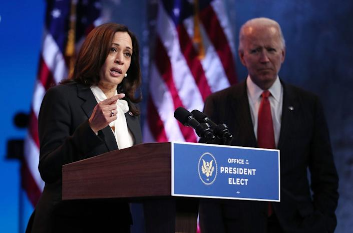 U.S. President-elect Joe Biden and Vice President-elect Kamala Harris hold a press conference. (Photo by Joe Raedle/Getty Images)
