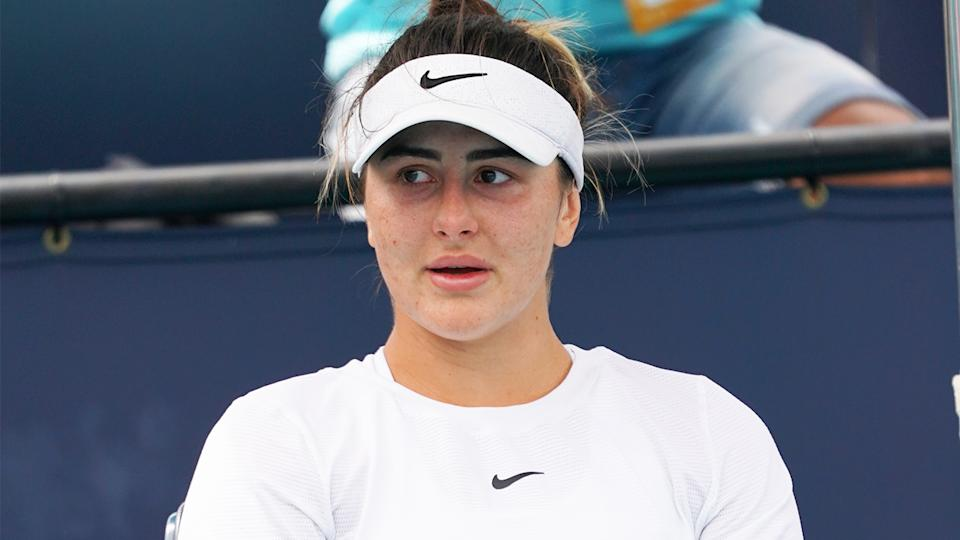 Bianca Andreescu (pictured) during a changeover during a tennis match.