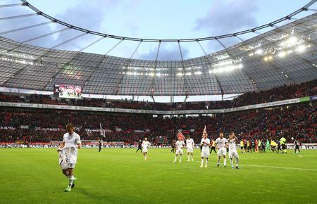 Bayern Munich players walk off the pitch after the match