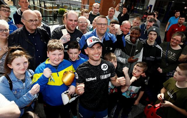 Boxing - Carl Frampton & Nonito Donaire Public Work-Outs - Victoria Square Shopping Centre, Belfast, Britain - April 19, 2018 Carl Frampton with fans during the public work out Action Images via Reuters/Jason Cairnduff