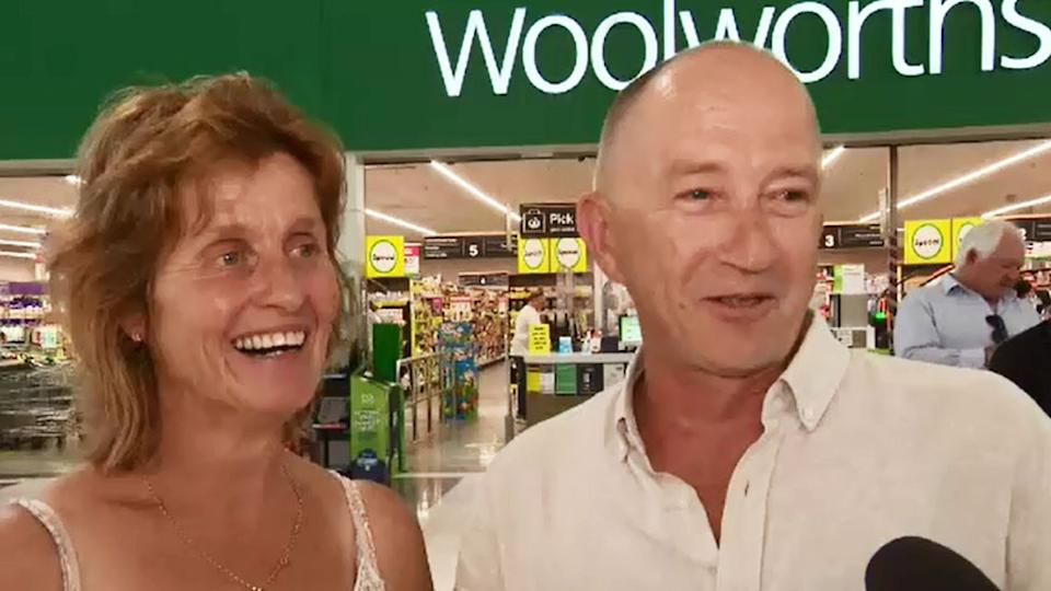 A QLD couple have tied the knot in a surprise Woolies wedding. Photo: Nine News.
