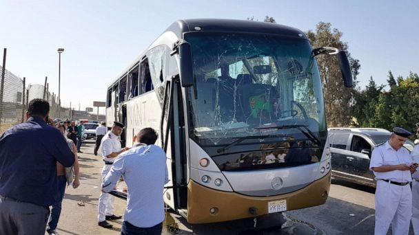 PHOTO: A damaged bus is seen at the site of a blast near a new museum being built close to the Giza pyramids in Cairo, May 19, 2019. (Ahmed Fahmy/Reuters)