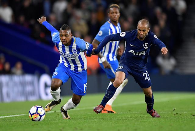 """Soccer Football - Premier League - Brighton & Hove Albion vs Tottenham Hotspur - The American Express Community Stadium, Brighton, Britain - April 17, 2018 Brighton's Jose Izquierdo in action with Tottenham's Lucas Moura REUTERS/Toby Melville EDITORIAL USE ONLY. No use with unauthorized audio, video, data, fixture lists, club/league logos or """"live"""" services. Online in-match use limited to 75 images, no video emulation. No use in betting, games or single club/league/player publications. Please contact your account representative for further details."""