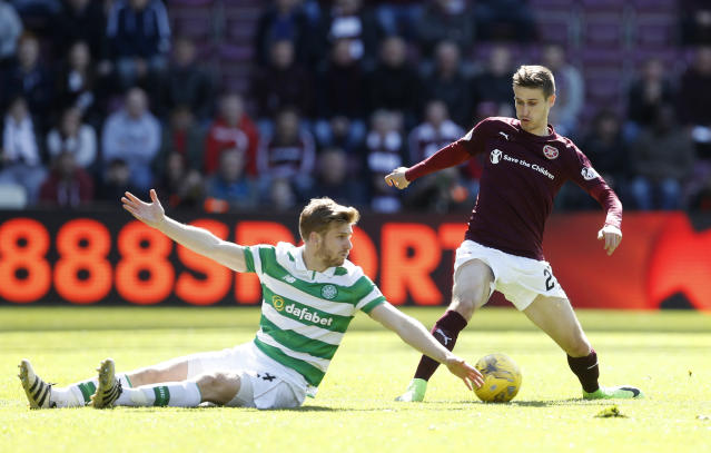 Britain Football Soccer - Heart of Midlothian v Celtic - Scottish Premiership - Tynecastle - 2/4/17 Heart's Andraz Struna in action with Celtic's Stuart Armstrong Reuters / Russell Cheyne Livepic