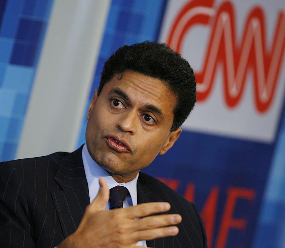 Pictured is CNN journalist Fareed Zakaria. He revealed on-air he had lost his mum to Covid-19.