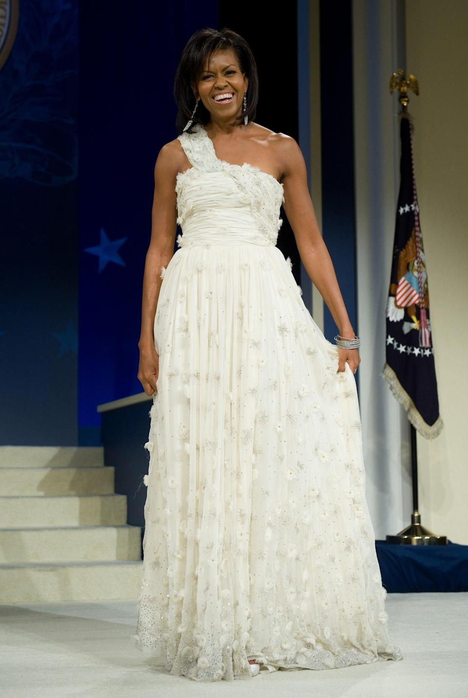 For her debut Inauguration Ball, Michelle Obama wore a stunning chiffon Jason Wu gownAFP/Getty Images