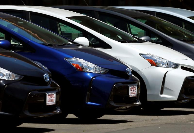 Toyota Prius automobiles are shown for sale at a dealership in Carlsbad, California