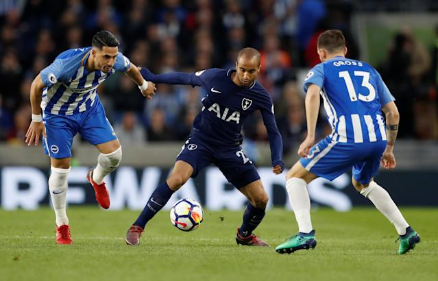 """Soccer Football - Premier League - Brighton & Hove Albion vs Tottenham Hotspur - The American Express Community Stadium, Brighton, Britain - April 17, 2018 Tottenham's Lucas Moura in action with Brighton's Beram Kayal and Pascal Gross Action Images via Reuters/Matthew Childs EDITORIAL USE ONLY. No use with unauthorized audio, video, data, fixture lists, club/league logos or """"live"""" services. Online in-match use limited to 75 images, no video emulation. No use in betting, games or single club/league/player publications. Please contact your account representative for further details."""