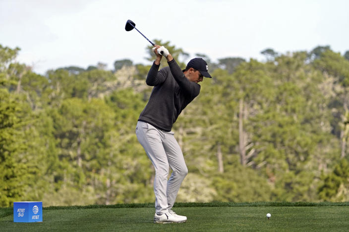 Jordan Spieth hits from the seventh tee of the Spyglass Hill Golf Course during the second round of the AT&T Pebble Beach Pro-Am golf tournament Friday, Feb. 12, 2021, in Pebble Beach, Calif. (AP Photo/Eric Risberg)