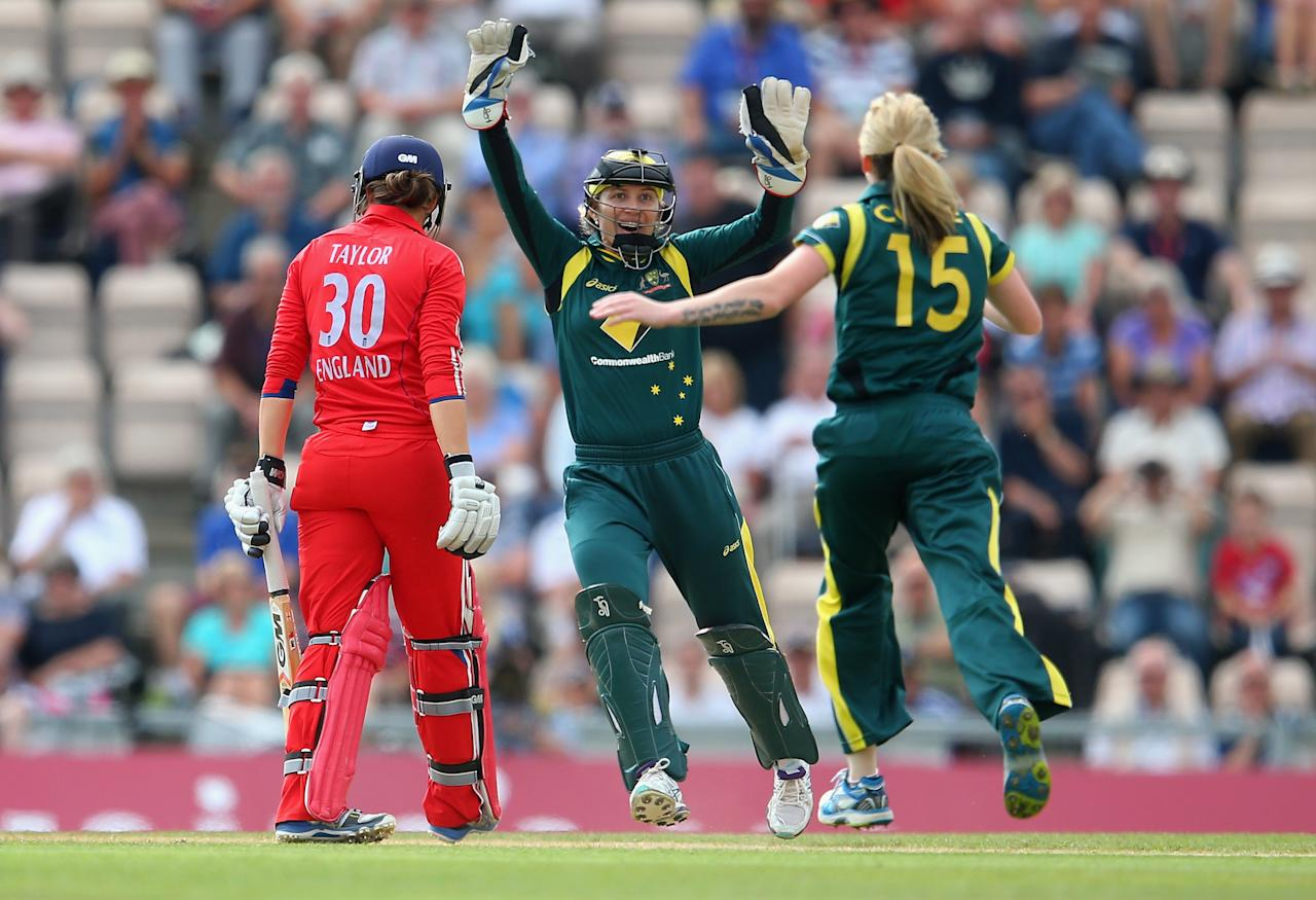 SOUTHAMPTON, ENGLAND - AUGUST 29:  Sarah Taylor of England is caught and bowled by Sarah Coyte of Australia during the 2nd NatWest T20 match between England Women and Australia Women at Ageas Bowl on August 29, 2013 in Southampton, England.  (Photo by Julian Finney/Getty Images)