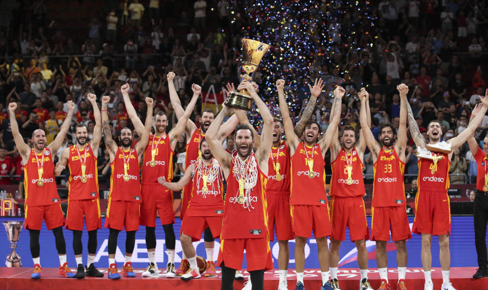 Team Spain celebrate the trophy during the awarding ceremony after the final match between Spain and Argentina at the 2019 FIBA World Cup in Beijing, China, Sept. 15, 2019. (Photo: Xinhua/Meng Yongmin via Getty Images)
