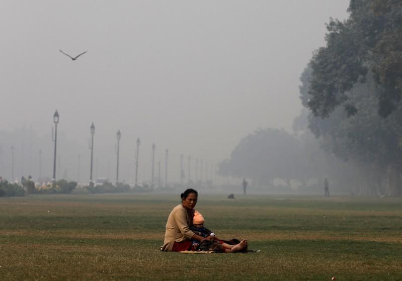 A woman sits with a child in a park near India Gate, on a smoggy morning, in New Delhi