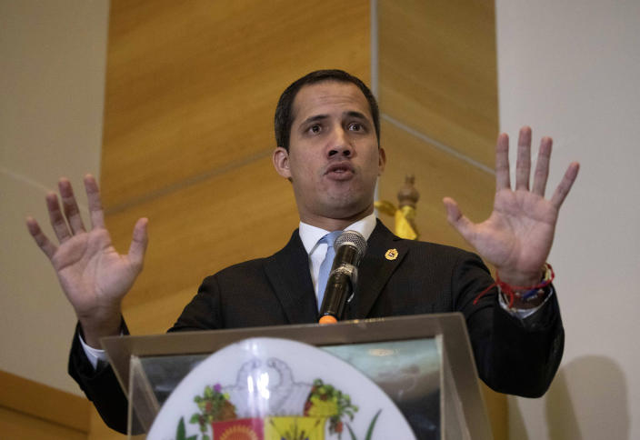 Self-proclaimed interim president of Venezuela and opposition leader Juan Guaido speaks during a press conference in Caracas, Venezuela, Saturday, Feb. 15, 2020. Guaido returned this week from an international tour seeking support to oust President Nicolas Maduro, violating a travel ban. (AP Photo/Ariana Cubillos)