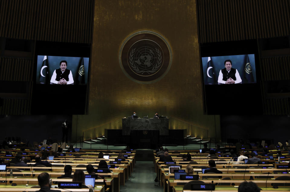 Pakistan Prime Minister Imran Khan addresses, in a pre-recorded message, addresses the 76th session of the United Nations General Assembly, Friday Sept. 24, 2021, at UN headquarters. (Peter Foley/Pool Photo via AP)
