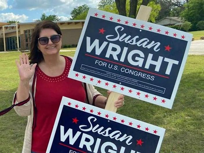 Susan Wright, a congressional candidate for the US House of Representatives from Texas, said anonymous robocalls were accusing her of murdering her husband, who died of coronavirus in February (Susan Wright campaign Facebook)