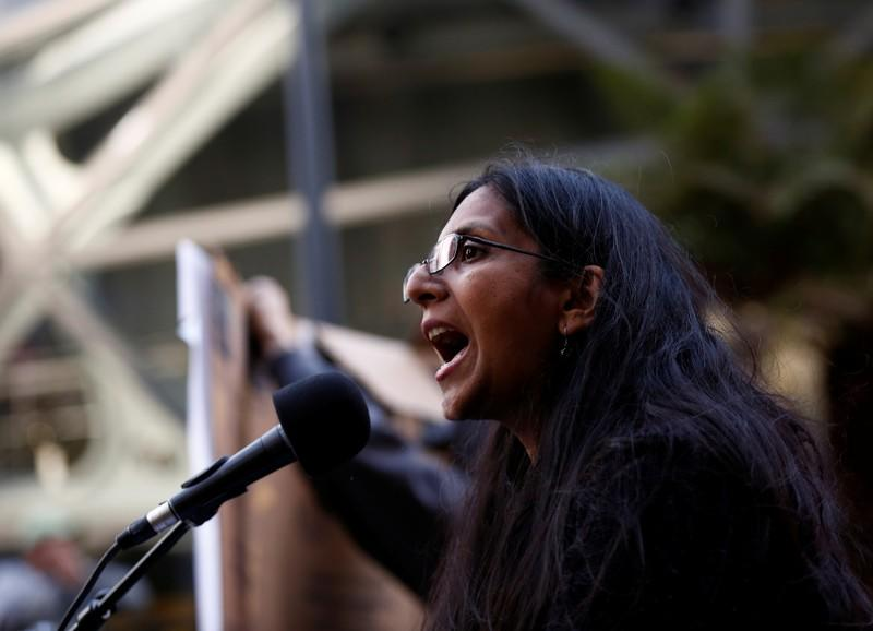 FILE PHOTO:  Councilmember Sawant speaks in front of Amazon Spheres during protest to demand the city of Seattle tax the largest corporations to build affordable housing in Seattle