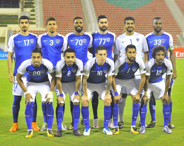 Al-Hilal's starting eleven pose for a group shot ahead of their Asian Champions League semi-final match against Persepolis, at the Sultan Qaboos Sports Complex in Muscat, on October 17, 2017