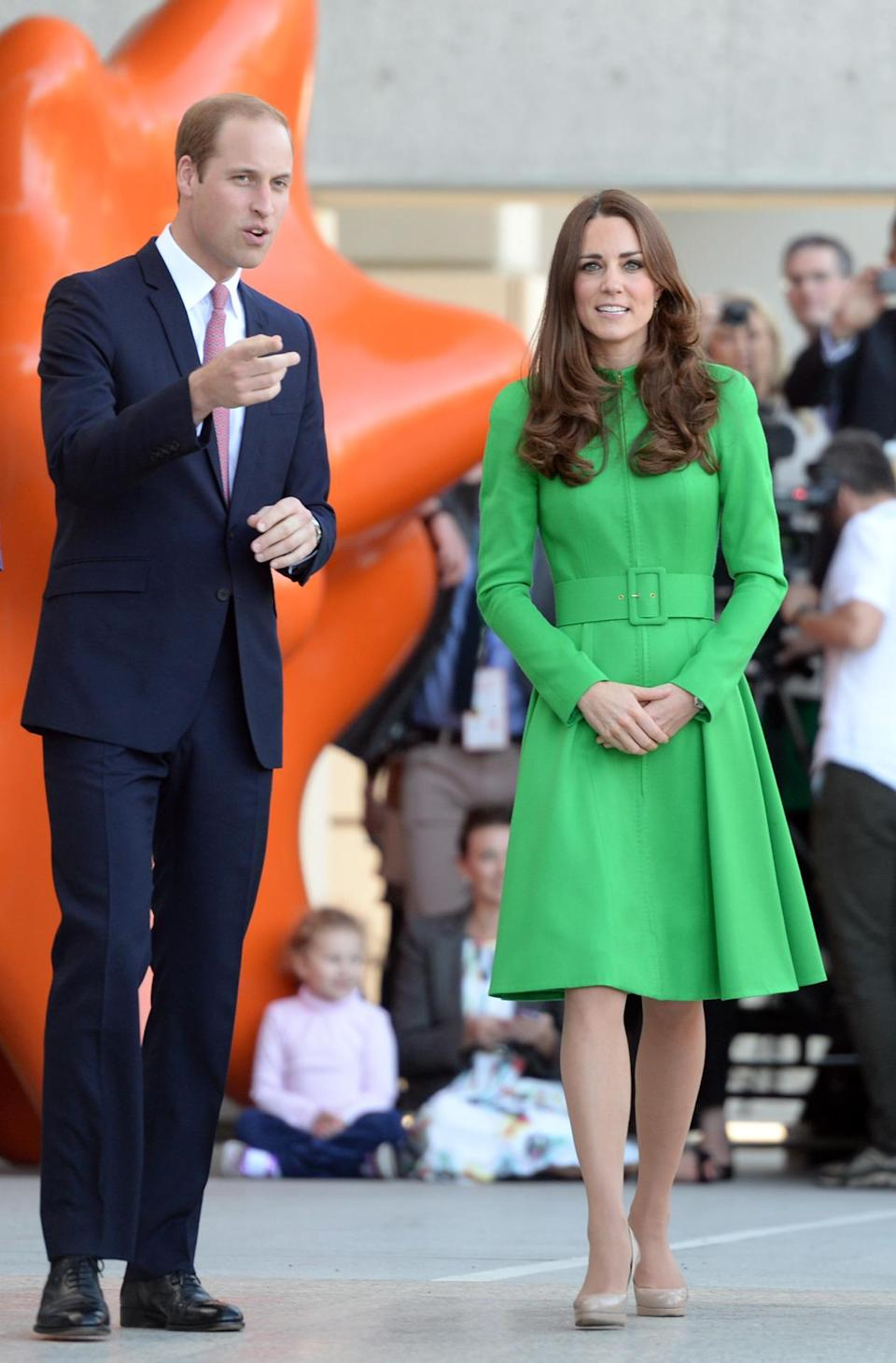 <p>Kate spent a day in Canberra in a vivid green coat dress by Catherine Walker and nude L.K. Bennett pumps. </p><p><i>[Photo: PA]</i></p>