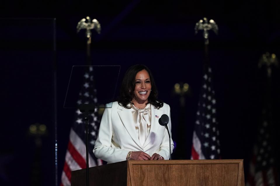 WILMINGTON, DE - NOVEMBER 7:   Vice President-elect Kamala D. Harris addresses supporters at party headquarters at the Chase Center on November 7, 2020 in Wilmington, Delaware. (Photo by Toni L. Sandys/The Washington Post via Getty Images)
