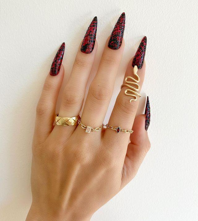 """<p>The texture of these touchy feely claws makes them one of our fave Halloween manicures. Ask for nail wraps to get a similar finish.</p><p><a href=""""https://www.instagram.com/p/B3VYjRMg8Zo/"""" rel=""""nofollow noopener"""" target=""""_blank"""" data-ylk=""""slk:See the original post on Instagram"""" class=""""link rapid-noclick-resp"""">See the original post on Instagram</a></p>"""