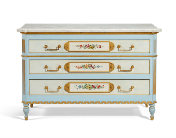 """<h2>Christie's<br></h2>The British auction house is home to some legendary art, antiques, and estate sales. If you're looking for furniture that doubles as an investment, you'll find it here (in perfectly pastel, marble-topped Louis XVI style commode!). <br><br><strong>Maison Jansen</strong> Louis XVI Style Commode, $, available at <a href=""""https://go.skimresources.com/?id=30283X879131&url=https%3A%2F%2Fonlineonly.christies.com%2Fs%2Fprivate-collection-jayne-wrightsman-online%2Flouis-xvi-style-polychrome-painted-parcel-gilt-commode-675%2F98094"""" rel=""""nofollow noopener"""" target=""""_blank"""" data-ylk=""""slk:Christie's"""" class=""""link rapid-noclick-resp"""">Christie's</a>"""