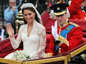 <p>The couple travelled to Buckingham Palace in the 1902 State Landau carriage which was built for King Edward VII and was intended to be used at his coronation.</p><p> The Queen usually uses it to greet foreign heads of state on state visits. </p><p>Prince Charles and the late Princess Diana sat in the carraige on their wedding day in 1981, as did the Duke and Duchess of York in 1986.</p>