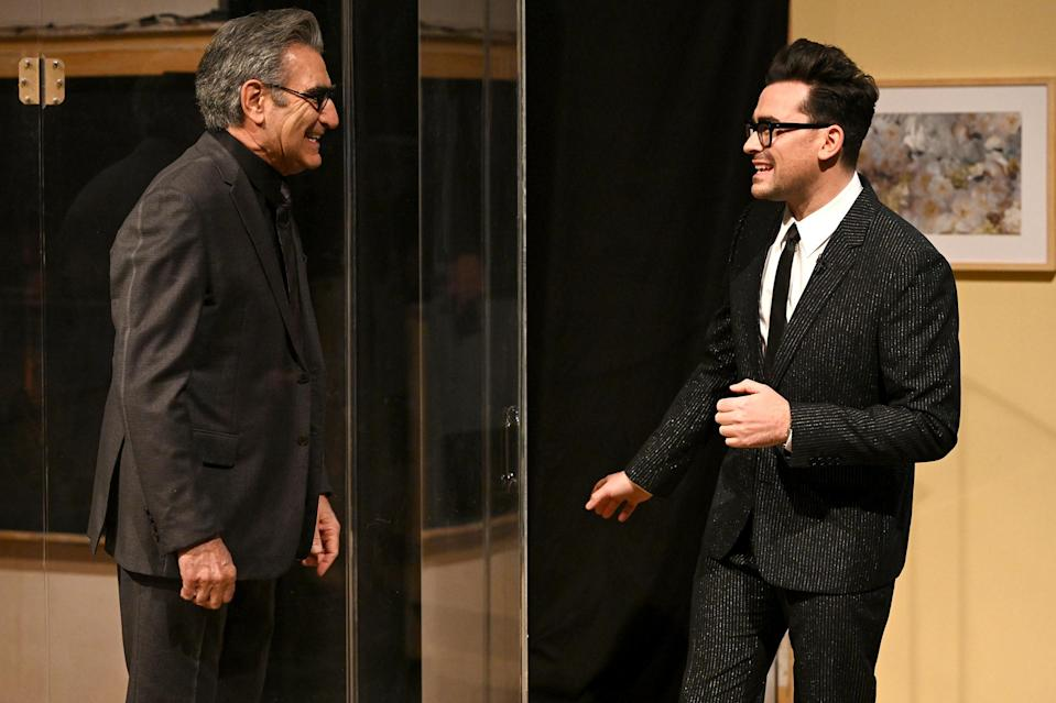<p>Eugene Levy made a hilarious cameo when his son and <em>Schitt's Creek</em> co-creator Dan Levy hosted <em>Saturday Night Live</em> for the first time in New York City.</p>