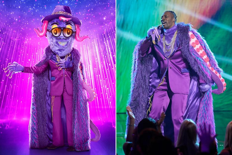 """<p>The new season kicked off with a double elimination, but only one unmasking. The first to go was a pimped out purple 'pus. The towering sea creature pulled off his bafflingly furry head to <a href=""""https://ew.com/tv/the-masked-singer-season-6-premiere-recap-octopus-mother-nature/"""" rel=""""nofollow noopener"""" target=""""_blank"""" data-ylk=""""slk:reveal L.A. Laker Dwight Howard"""" class=""""link rapid-noclick-resp"""">reveal L.A. Laker Dwight Howard</a>. </p>"""