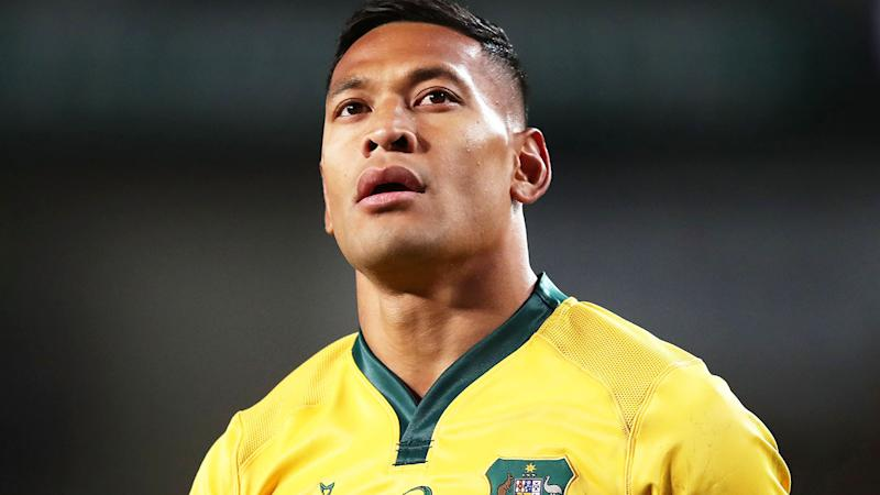 Israel Folau in action for the Wallabies in 2018, one of his last Tests. (Photo by Matt King/Getty Images)