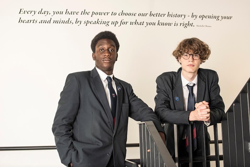 Wilfred Bates and Tobi Adewumi (left), say their school, Fulham Boys, is holding helpful discussions about consent (Daniel Hambury/Stella Pictures Ltd)