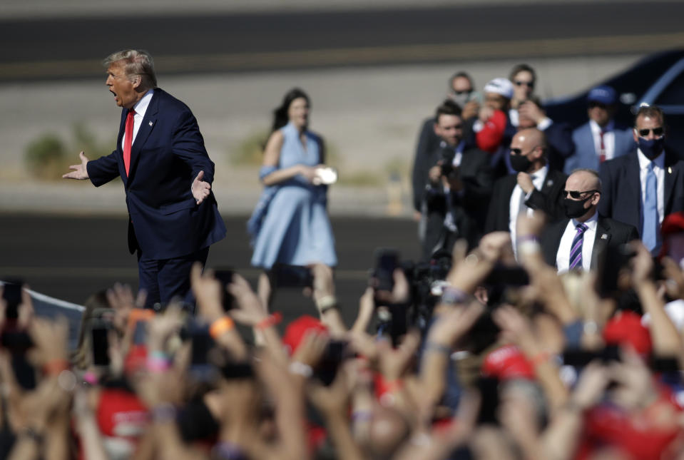 BULLHEAD CITY, ARIZONA - OCTOBER 28: U.S. President Donald Trump arrives at a campaign rally on October 28, 2020 in Bullhead City, Arizona. With less than a week until Election Day, Trump and Democratic presidential nominee Joe Biden are campaigning across the country. (Photo by Isaac Brekken/Getty Images)