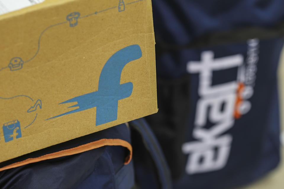 The logo of Flipkart Online Services Pvt is seen on the side of a package at the company's office in the Jayaprakash Narayan Nagar area of Bengaluru. (Photographer: Dhiraj Singh/Bloomberg)