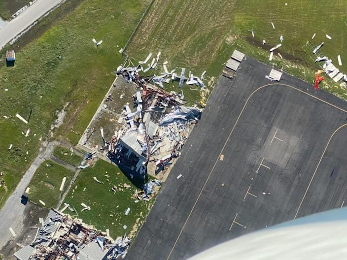 Damage seen in the near Lake Charles, Louisiana, following Hurricane Delta on Saturday.