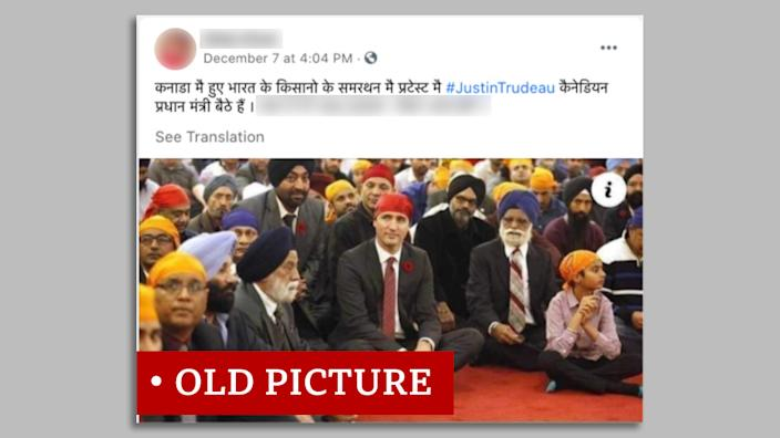 "Screen grab of Justin Trudeau with Sikhs labelled ""old picture"""
