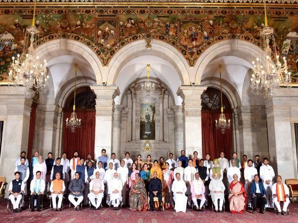 PM Narendra Modi in a group photograph with 43 ministers who took oath as Union Cabinet Ministers and as Ministers of State, at Rashtrapati Bhawan in New Delhi on Wednesday.