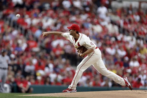 St. Louis Cardinals starting pitcher Adam Wainwright throws during the first inning of the second game of a baseball doubleheader against the San Francisco Giants, Saturday, June 1, 2013, in St. Louis. (AP Photo/Jeff Roberson)