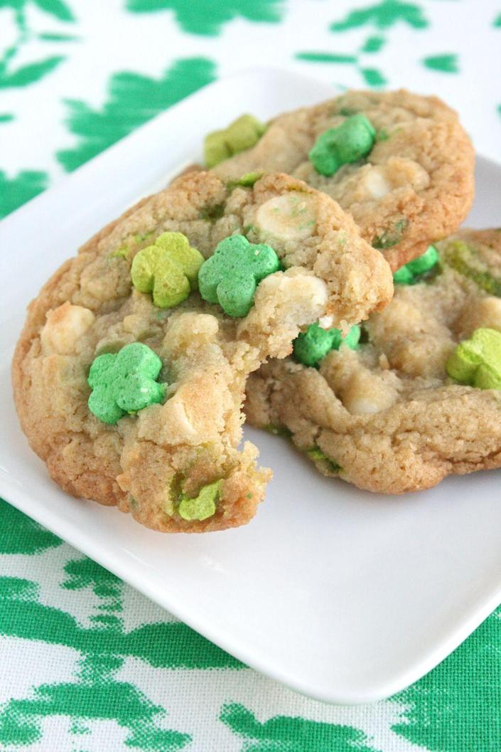 """<p>Mix Lucky Charms cereal in this cookie dough, so they can be magically delicious through and through.</p><p><a href=""""https://www.goodhousekeeping.com/recipefinder/lucky-charms-cookies-recipe-ghk0314"""" rel=""""nofollow noopener"""" target=""""_blank"""" data-ylk=""""slk:Get the recipe for Lucky Charm Cookies »"""" class=""""link rapid-noclick-resp""""><em>Get the recipe for Lucky Charm Cookies »</em></a></p>"""