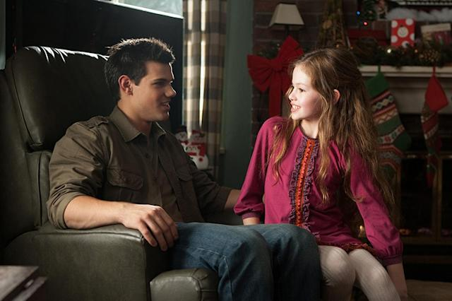 "<p>What's the creepiest thing about Renesmee (Mackenzie Foy), the daughter of vampire Edward (Robert Pattinson) and human Bella (Kristen Stewart) in the final installment of the <em>Twilight </em>saga? Is it the <a href=""https://www.youtube.com/watch?v=lihsszMcXxo"" rel=""nofollow noopener"" target=""_blank"" data-ylk=""slk:uncanny CG baby"" class=""link rapid-noclick-resp"">uncanny CG baby</a> that plays her? Is it that she grows to the size of a 10-year-old in a matter of months? Or is it that sexy werewolf Jacob (Taylor Lautner) ""imprints"" on her when she's two days old, declaring her his soulmate for life? Yeah, definitely that last thing. (Photo: Summit Entertainment) </p>"