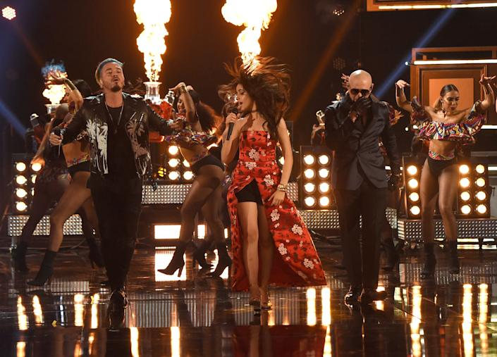 (L-R) Recording artists J Balvin, Camila Cabello, and Pitbull perform onstage during the 2017 MTV Movie And TV Awards at The Shrine Auditorium on May 7, 2017 in Los Angeles, California.