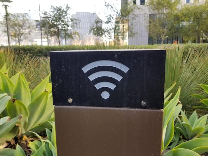 "<span class=""caption"">The Wi-Fi symbol, like the technology it represents, has become ubiquitous.</span> <span class=""attribution""><a class=""link rapid-noclick-resp"" href=""https://www.gettyimages.com/detail/news-photo/close-up-of-an-outdoor-wifi-antenna-integrated-into-a-news-photo/1090961462?adppopup=true"" rel=""nofollow noopener"" target=""_blank"" data-ylk=""slk:Smith Collection/Gado via Getty Images"">Smith Collection/Gado via Getty Images</a></span>"
