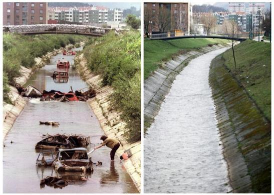 A Bosnian woman does her laundry in Dobrinja River in the Sarajevo front-line district of Dobrinja, in this file picture taken August 2, 1993 (top), and the same river is seen April 1, 2012, in this combination picture made April 4, 2012.