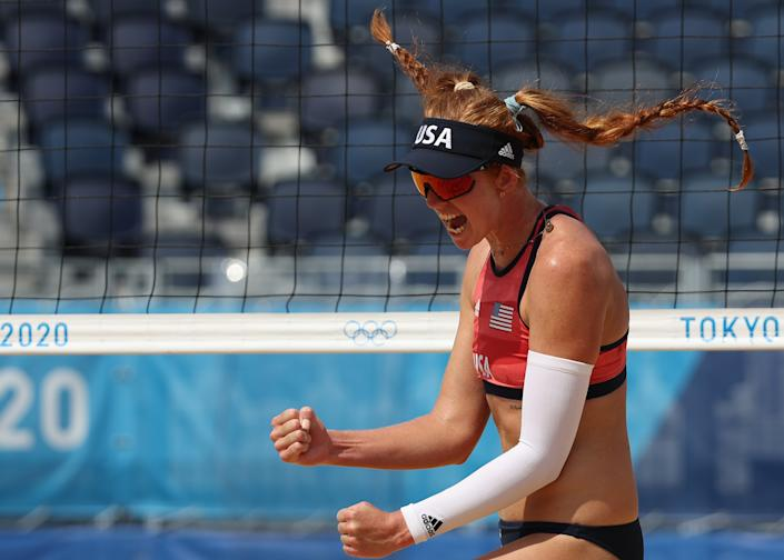<p>Kelly Claes #1 of Team United States celebrates against Team Canada during the Women's Round of 16 beach volleyball on day nine of the Tokyo 2020 Olympic Games at Shiokaze Park on August 01, 2021 in Tokyo, Japan. (Photo by Sean M. Haffey/Getty Images)</p>