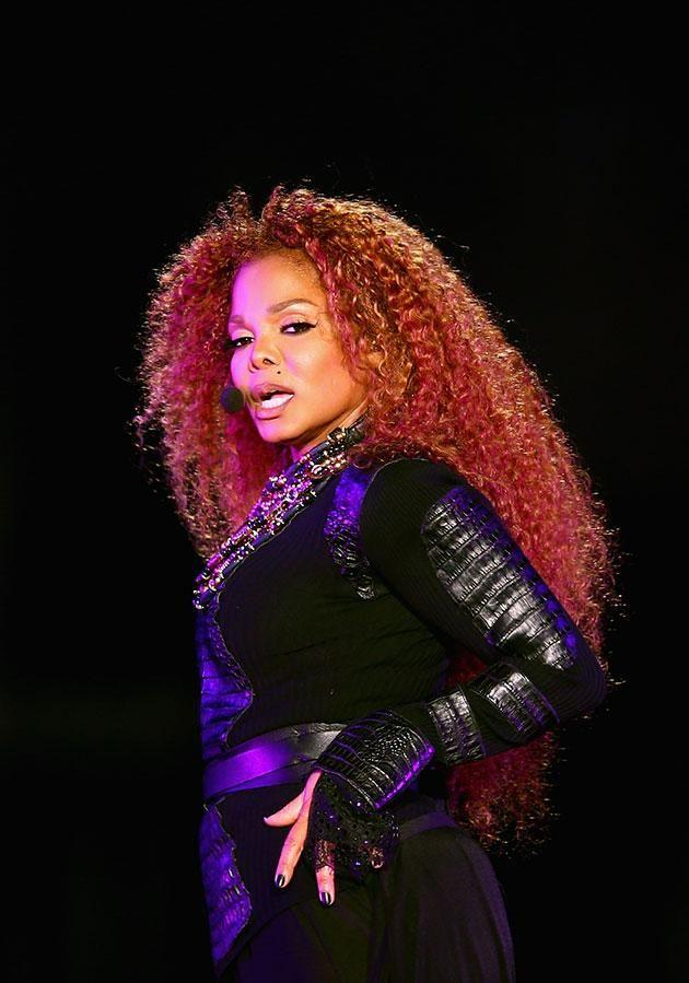 Janet performing on stage in Dubai on March 26. Source: Getty