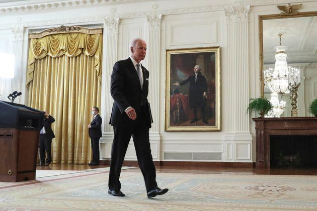 epa09417054 US President Joe Biden leaves the podium after delivering remarks on Afghanistan, in the East Room of The White House in Washington, DC , USA, 16 August 2021.  EPA/Oliver Contreras / POOL (Photo: Oliver Contreras EPA)