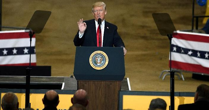President Donald Trump speaks to a crowd of industrial workers in Ohio last week, insisting US forces would be out of Syria soon (AFP Photo/JEFF SWENSEN)